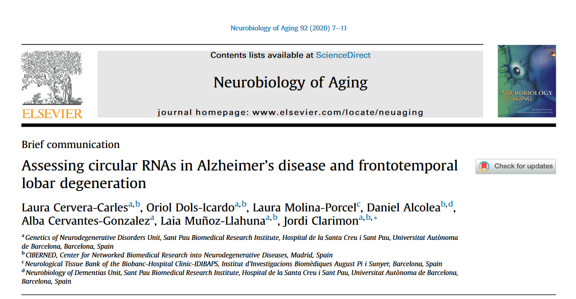 Circular RNAs in Alzheimer and frontotemporal - Cervera - Sant Pau Memory Unit